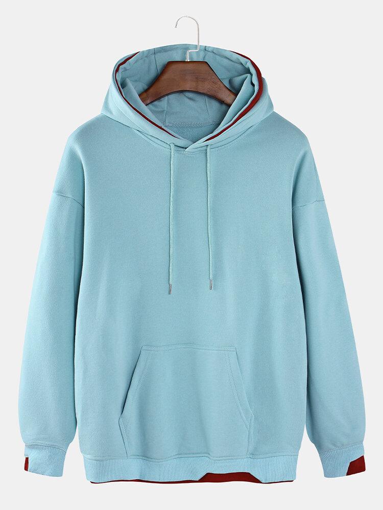 Mens Irregular Patchwork Cotton Casual Kangaroo Pocket Drawstring Hoodies