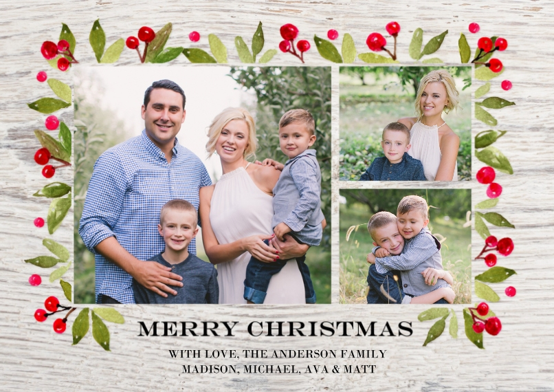 Christmas Photo Cards 5x7 Cards, Standard Cardstock 85lb, Card & Stationery -Christmas Rustic Floral