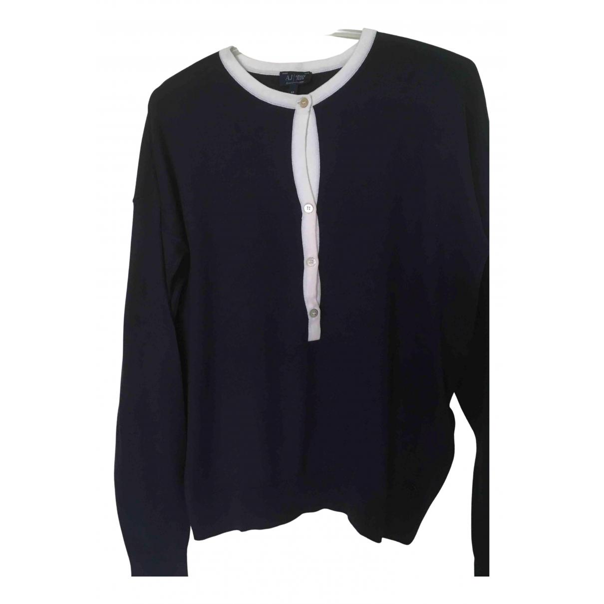 Armani Jeans N Navy Cotton Knitwear for Women 44 IT