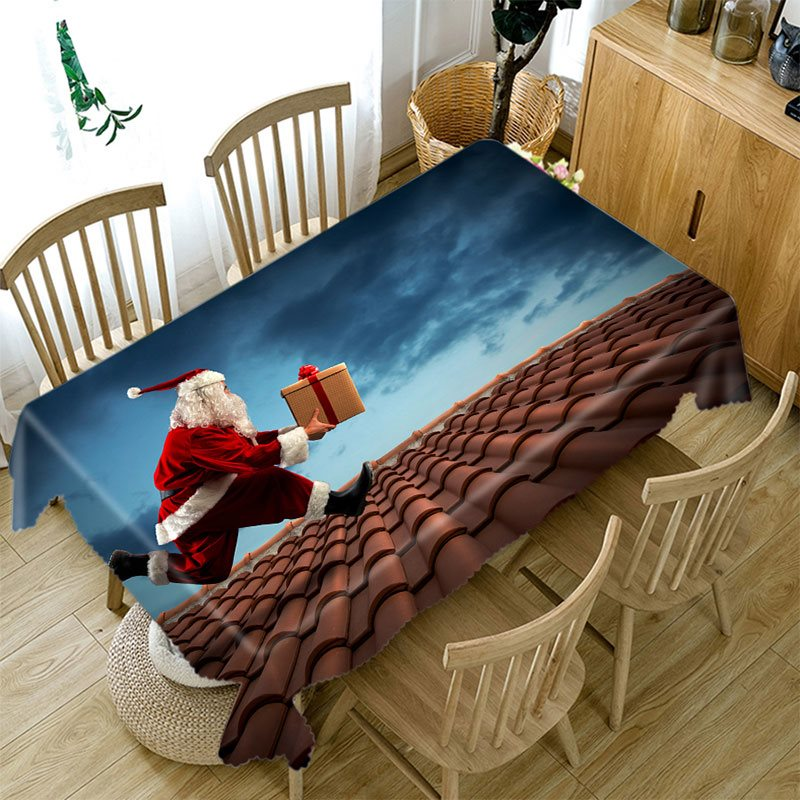 3D Tablecloth Merry Christmas Galloping Santa Claus Pattern Waterproof Cloth Thicken Rectangular And Wedding Table Cloth