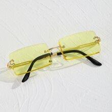 Maenner Randlose Sonnenbrille mit Rechtecklinsen