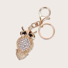 Rhinestone Decor Owl Charm Keychain