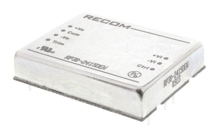 Recom RP30 EW 30W Isolated DC-DC Converter Through Hole, Voltage in 10 → 40 V dc, Voltage out ±15V dc