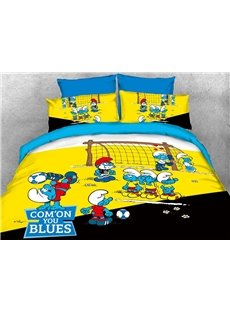 The Smurfs Play in Football Match Printed 4-Piece Bedding Sets/Duvet Covers