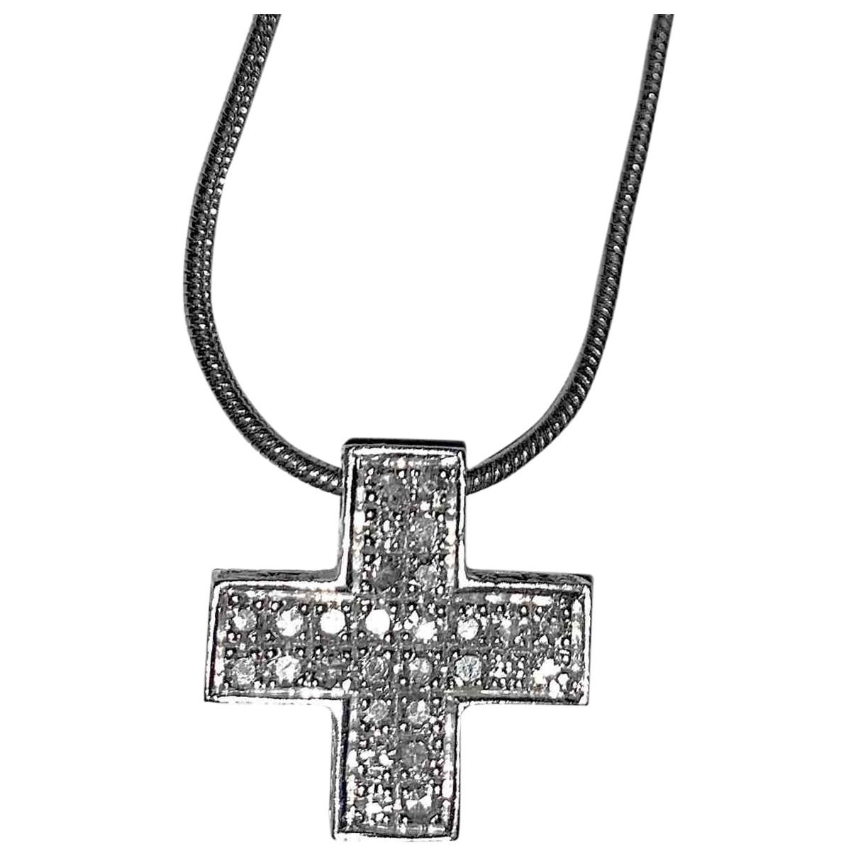 - Collier Motifs Religieux pour femme en or blanc - blanc