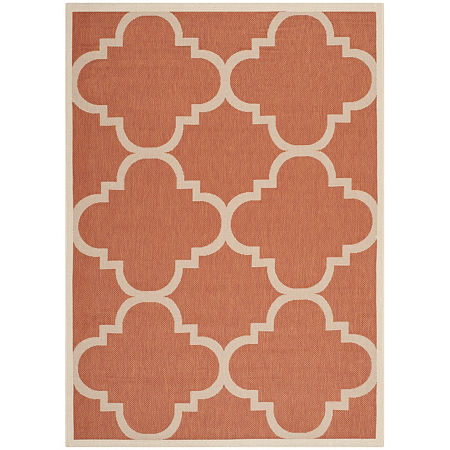 Safavieh Courtyard Collection Gina Geometric Indoor/Outdoor Area Rug, One Size , Orange