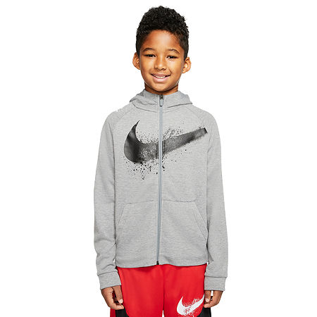 Nike Big Boys Moisture Wicking Hoodie, Medium , Gray