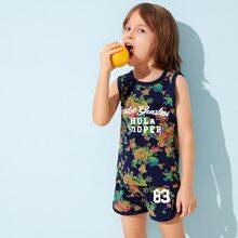 Kleinkind Jungen Tank Top mit Blumen, Buchstaben Grafik & Shorts