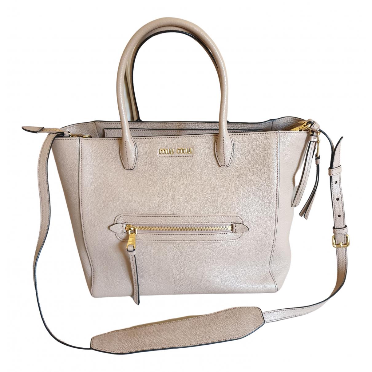Miu Miu Madras Handtasche in  Beige Leder