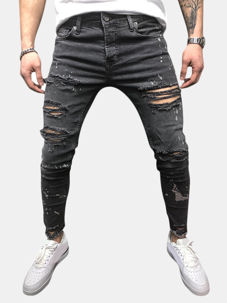 Mens Trendy Casual Breathable Holes Design Washed Slim Jeans