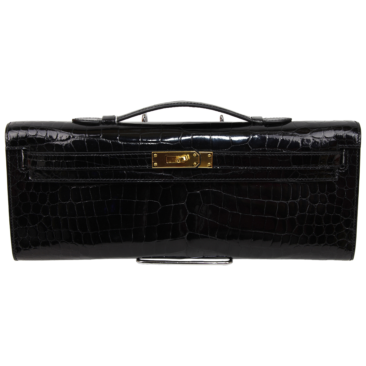 Hermes Kelly Cut Clutch Clutch in  Schwarz Krokodil