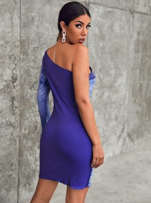 One Shoulder Tie Dye Panel Rib-knit Bodycon Dress