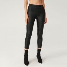LEATHER LOOK SLIM-FIT CROPPED JEANS