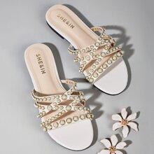 Faux Pearl Decor Slide Sandals