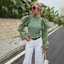 Pullover mit Kontrast Ärmeln, Rueschenbesatz und Stehkragen