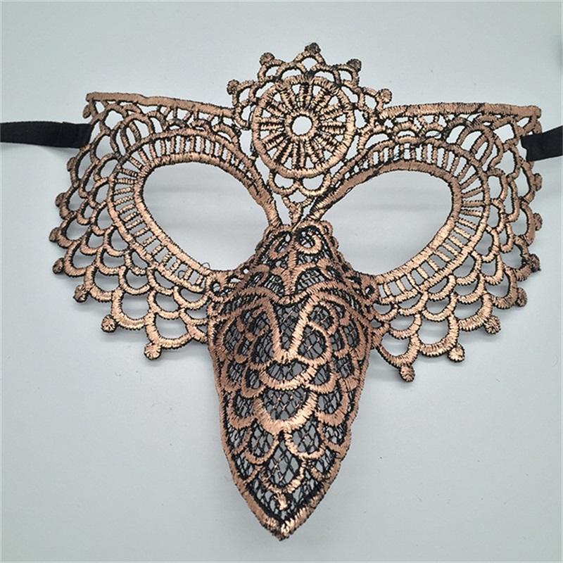 Owl Wing Beak Hollow Lace Halloween Masquerade Mask Golden