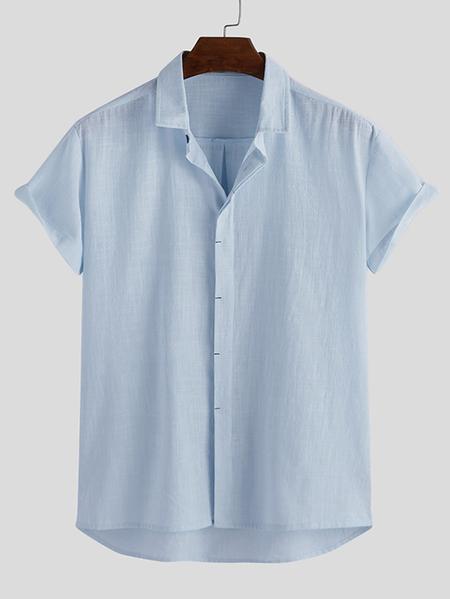 Yoins INCERUN Men Summer Casual Cotton Soft Plain Button Front Shirt