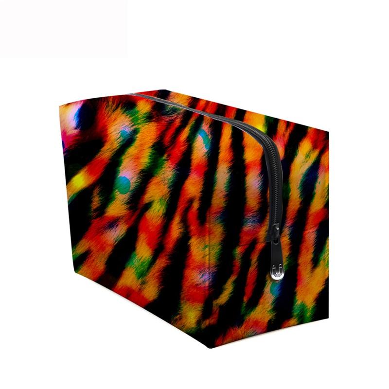 3D Portable Red Stripes Printed PV Black Cosmetic Bag