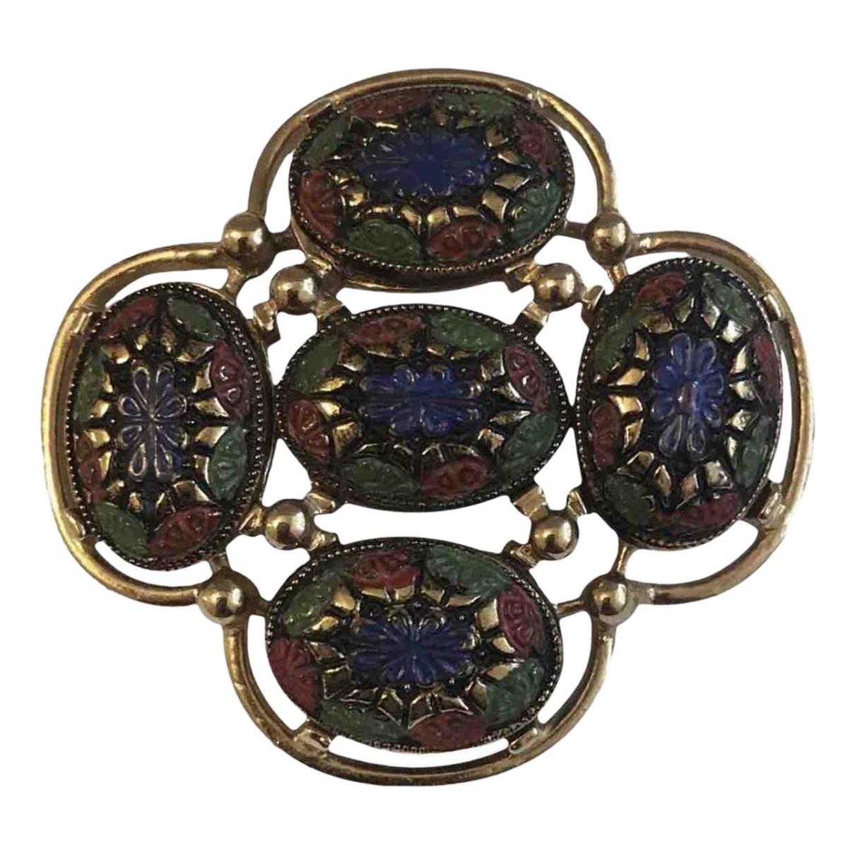 - Broche Croix pour femme en plaque or - multicolore