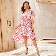 Plunging Tie Front Tiered Hem Floral Dress