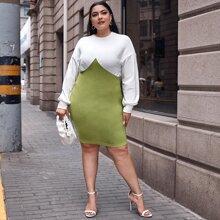 Zweifarbiges Kleid mit sehr tief angesetzter Schulterpartie
