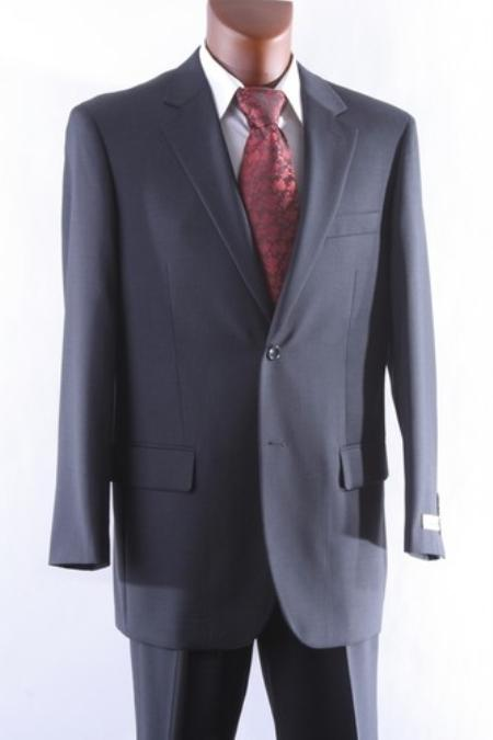 Mens 2 Button 1 Wool Suit Single Pleat Pants Charcoal
