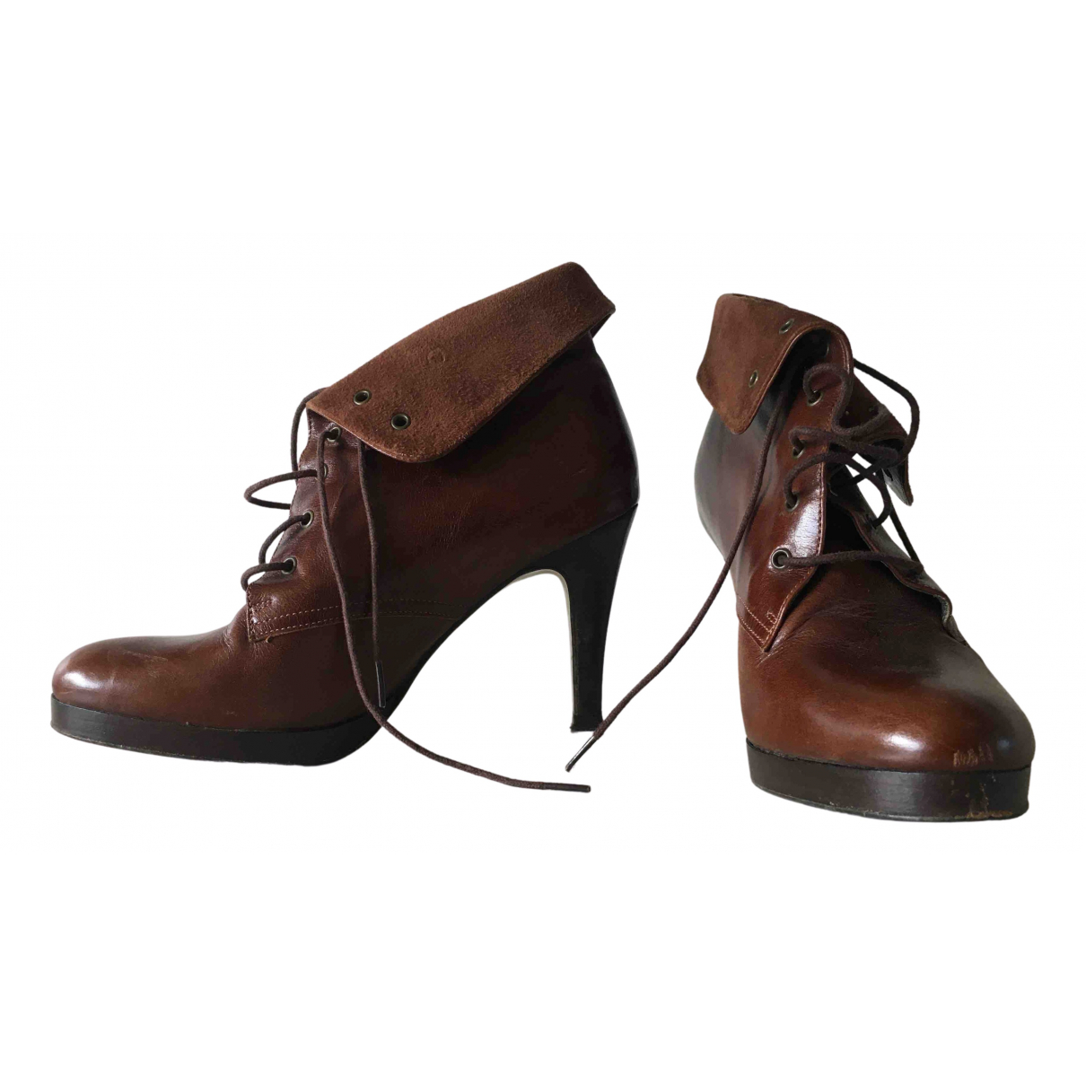 Gerard Darel N Brown Leather Boots for Women 36 EU