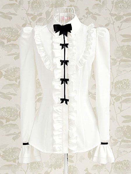 Milanoo Sweet Lolita Blouse White Bows Ruffle Long Sleeve Lolita Shirt