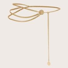 Hollow Round Flower Decor Asymmetrical Waist Chain