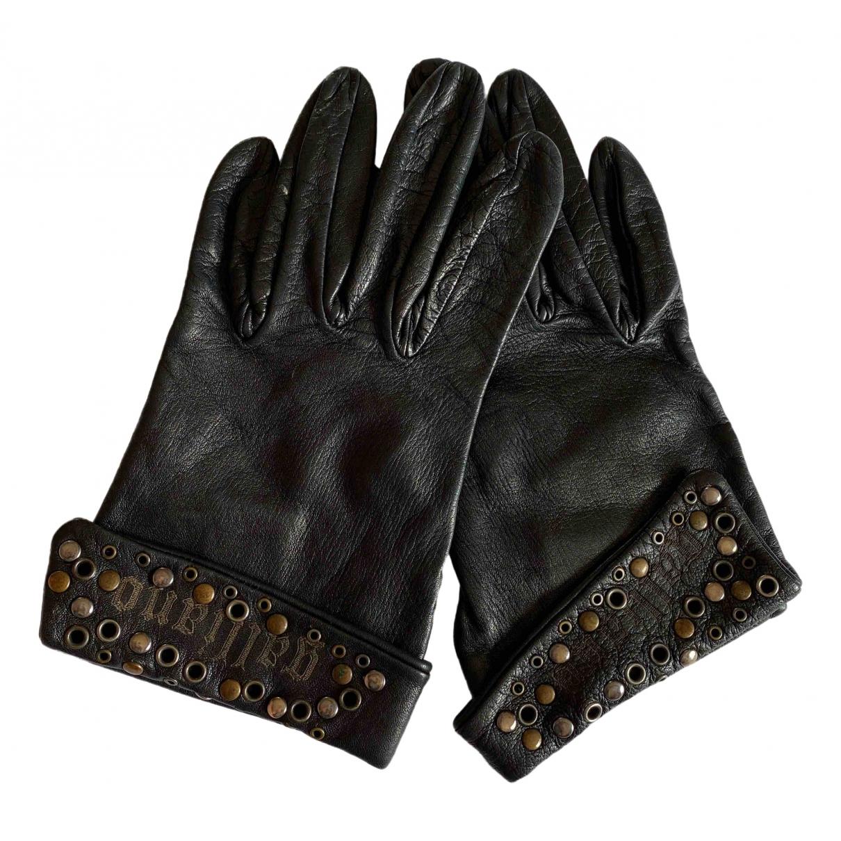 Galliano \N Handschuhe in  Schwarz Leder
