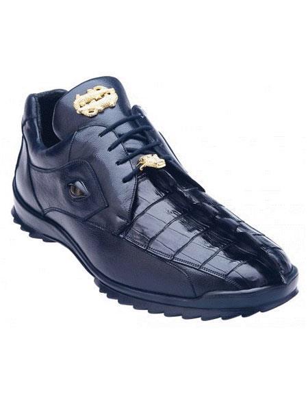 Belvedere Vasco Night Blue Genuine Hornback Crocodile Casual Sneakers