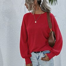 Tied Backless Lantern Sleeve Tee