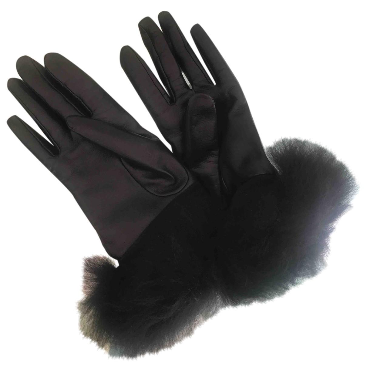Ugg \N Handschuhe in  Schwarz Leder