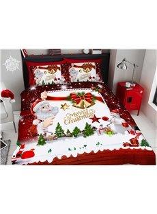 3D Santa Claus Cartoon Christmas Duvet Cover Set 4-Piece Soft Bedding Sets