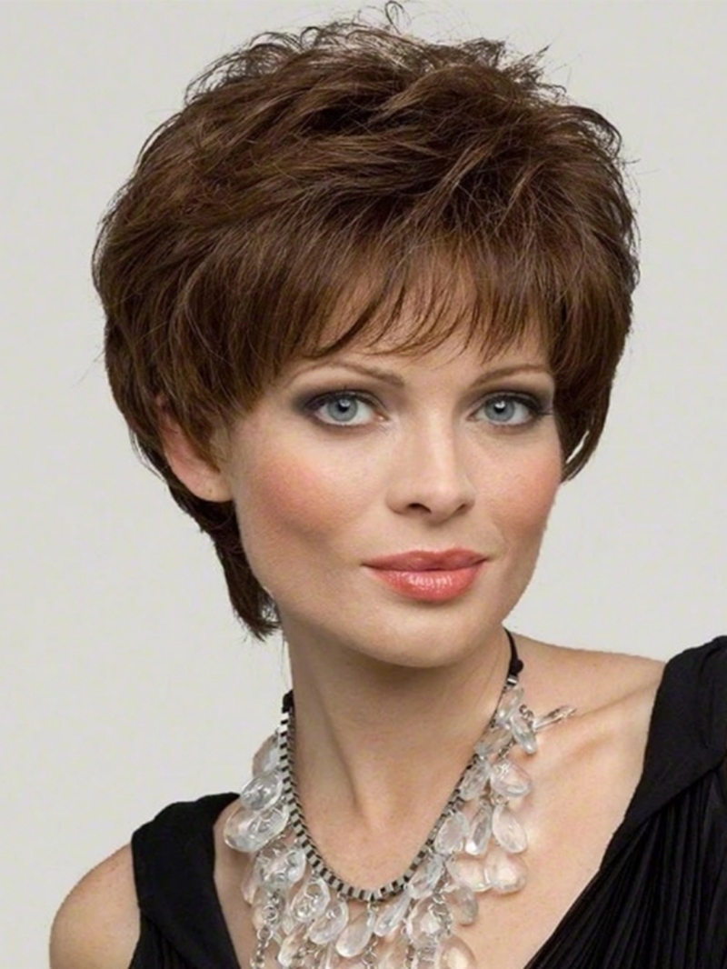 Ericdress Women's Pixie Cut Short Hairstyles Natural Straight 100% Human Hair Wigs Lace Front Cap Wigs 10Inch