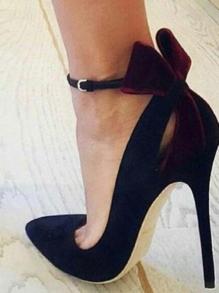 Milanoo Negros Zapatos de Tacon Alto de Ante 2020 Pumps Para Mujer de Punta Puntiaguda Cut Out Lazo Correa de Tobillo