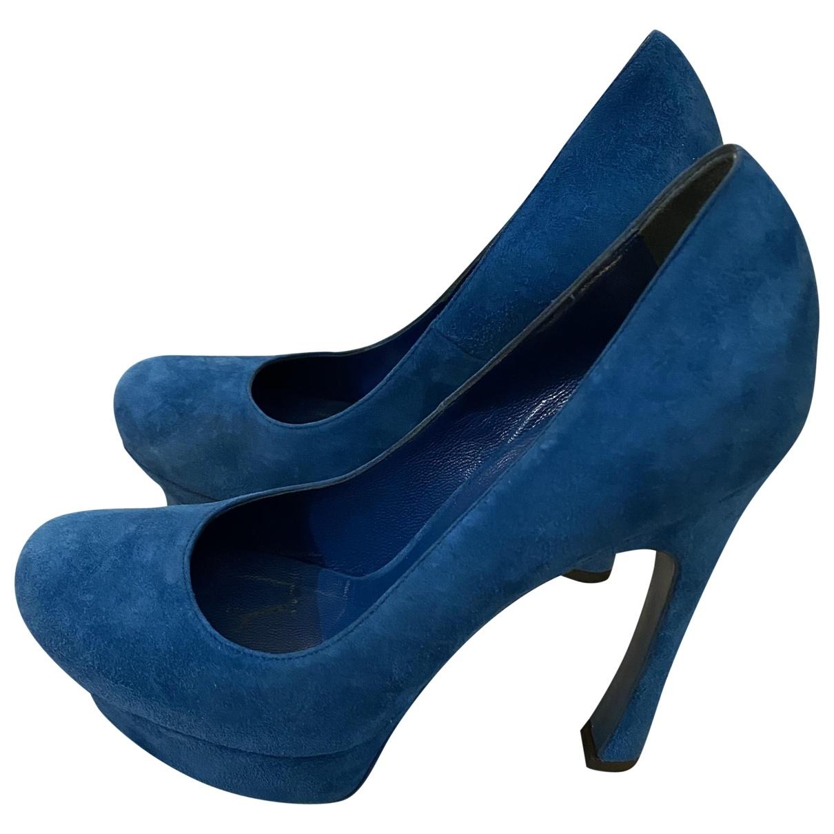 Yves Saint Laurent - Escarpins Palais pour femme en suede - bleu