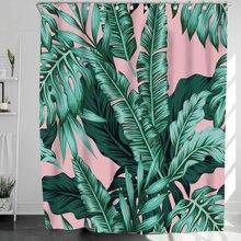 Duschvorhang mit Blatt Muster & 12 Haken