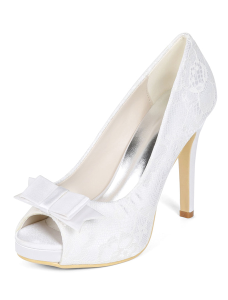 Milanoo White Wedding Shoes Lace Peep Toe Bow Plus Size Mother Shoes High Heel Bridal Shoes