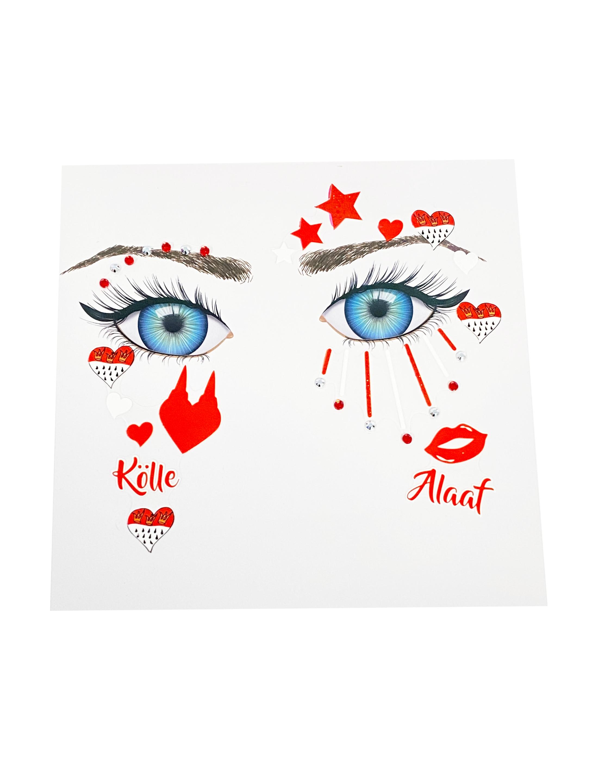 Kostuemzubehor Gesichtstattoo Koln Farbe: rot/weiss