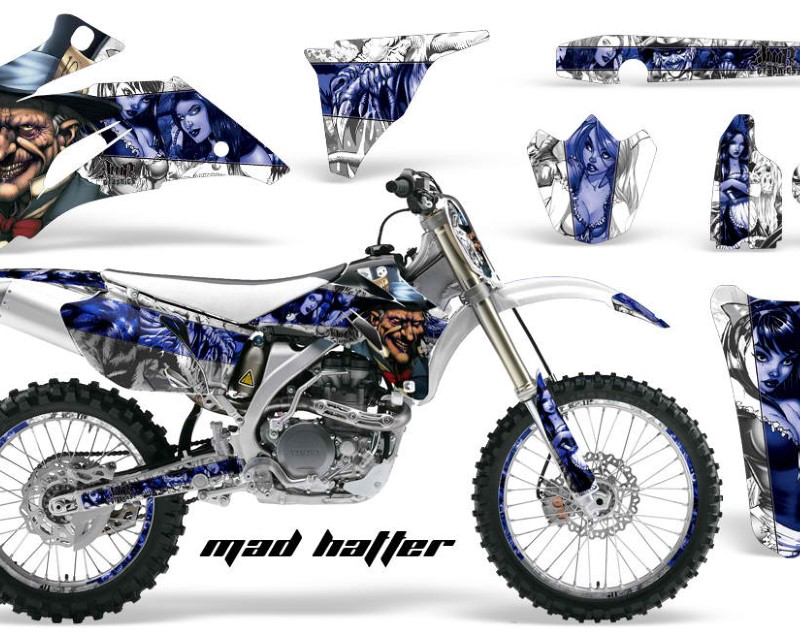 AMR Racing Graphics MX-NP-YAM-YZ250F-YZ450F-06-09-HAT U W Kit Decal Wrap + # Plates For Yamaha YZ250F YZ450F 2006-2009áHATTER BLUE WHITE