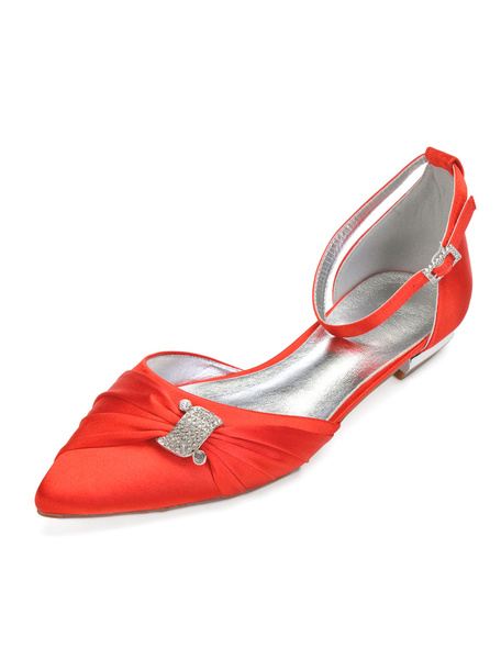 Milanoo Wedding Guest Shoes Satin Pointed Toe Rhinestones Ankle Strap Flat Bridal Shoes Mother Shoes