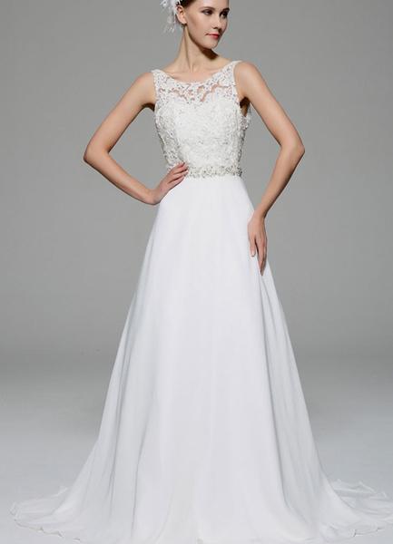 Milanoo Ivory Wedding Dress Illusion Rhinestone Lace Satin Wedding Gown