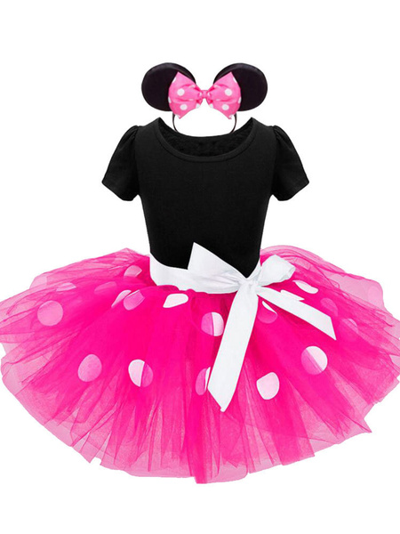 Milanoo Kids Halloween Costumes Red Mickey Mouse Cotton Dress With Hairpin Child Cosplay Wears