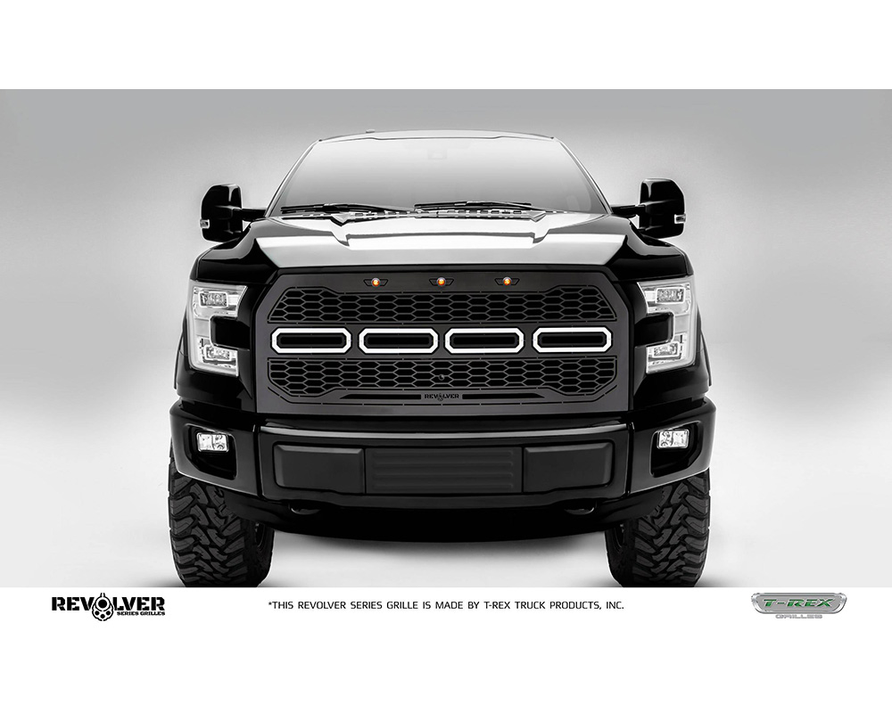 2015-2017 F-150 Revolver Grille, Black, 1 Pc, Replacement, Chrome Studs, Fits Vehicles with Camera - PN #6515771