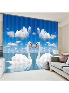3D White Couple Swans Printed Animal Style Blackout and Decoration Window Curtain