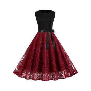 Belt Fit and Flare Lace Dress