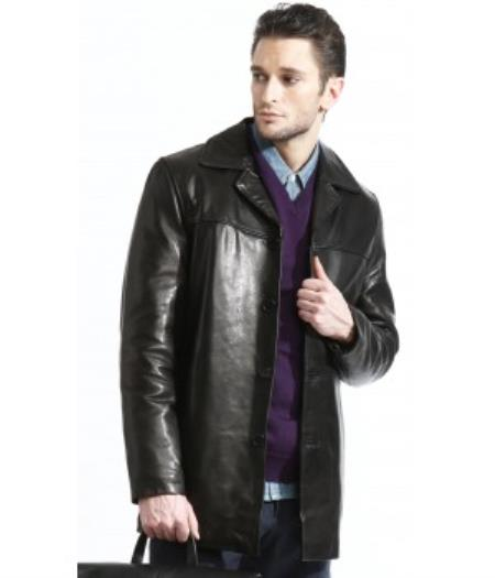 Mens 3 Button  Lambskin Leather Fully Lined Jacket