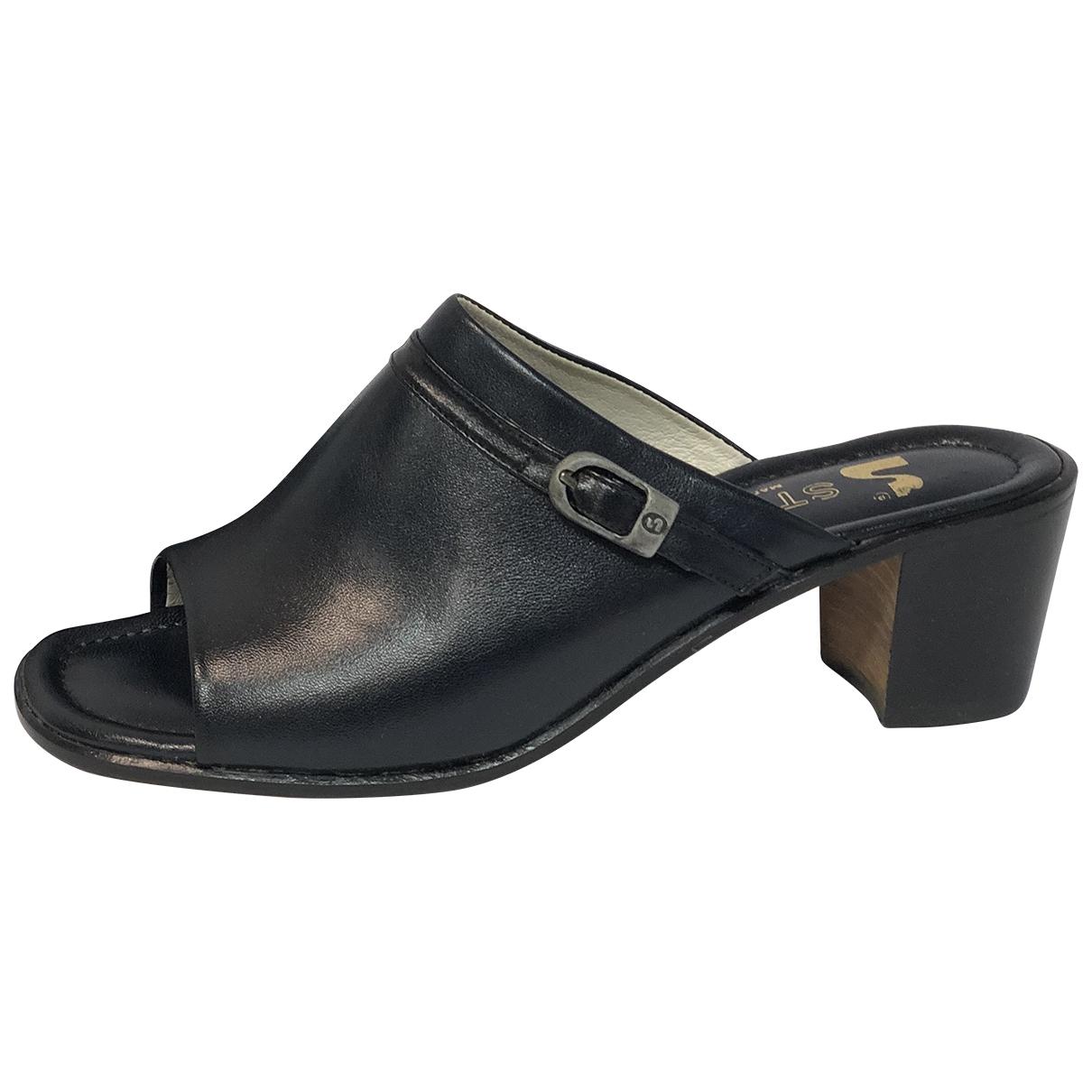 - Sandales   pour femme en cuir - bleu