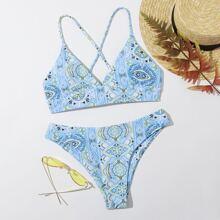Tribal Lace-up Back Bikini Swimsuit